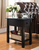 Suffolk Side Table with Charging Station in Black
