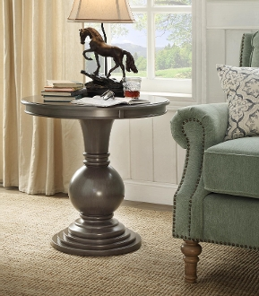 Rosemont Wooden Pedestal Table – Brushed Gray
