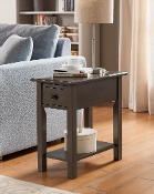 Suffolk Side Table with Charging Station in Brushed Grey