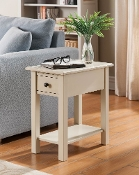 Suffolk Side Table with Charging Station in Antique White