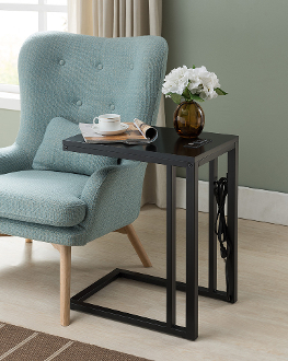 Bon Soho C Table With Charging Station In Black