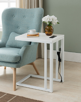 Soho C-table with Charging Station in White