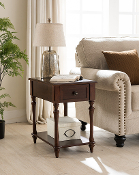Regency Side Table with Charging Station in Dark Cherry