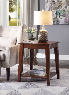 Carter Side Table in Espresso with Charging Station