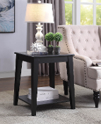 Carter Side Table in Black with Charging Station