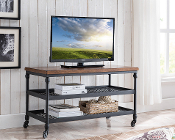 Covington TV Cart with a Charging Station and Metal Shelves