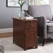 Sutton Side Table with Door and Drawer with USB Charging Station